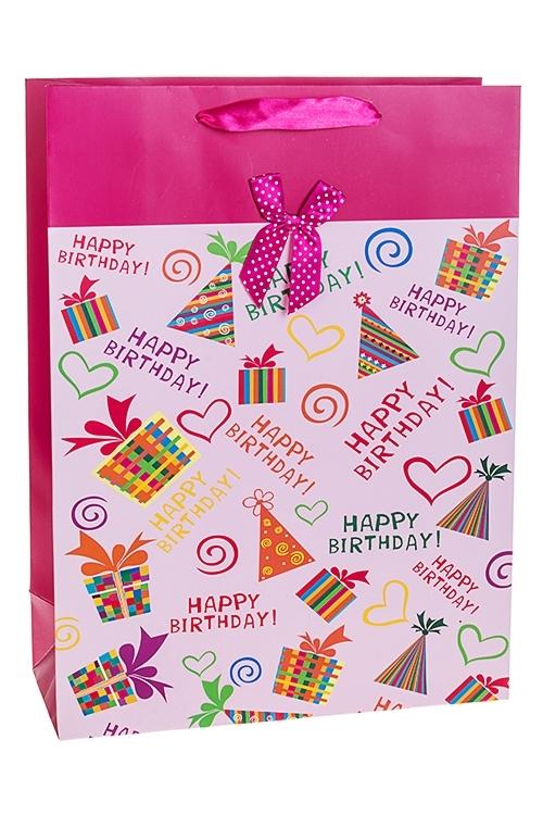Пакет подарочный Веселые колпачкиСувениры и упаковка<br>30*12*40см, бум., с декором, матовый<br>