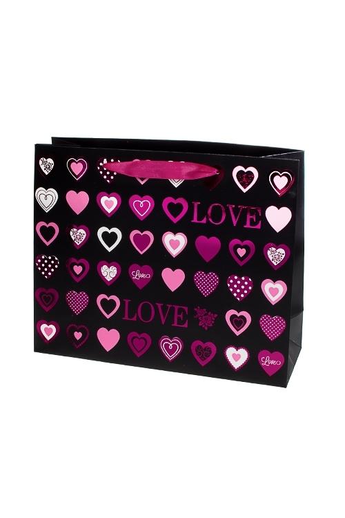 """Пакет подарочный """"Стильные сердца"""""""