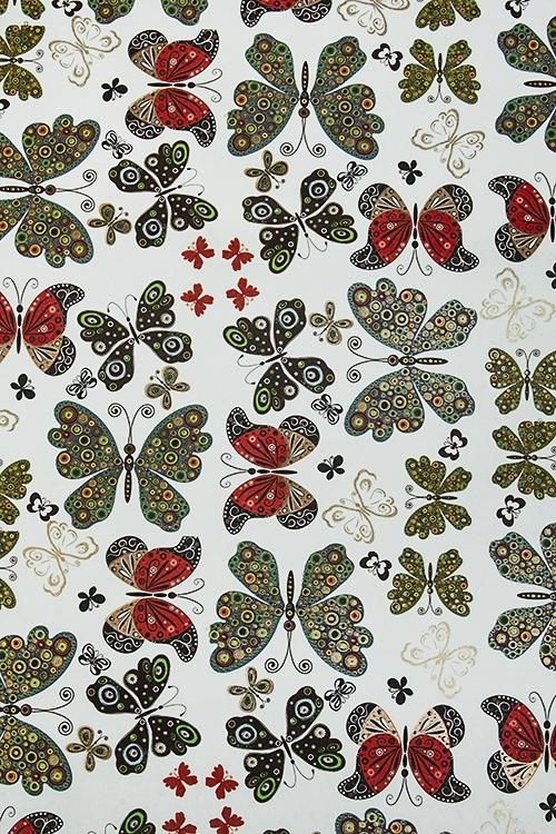 Бумага упаковочная Порхающие бабочкиУпаковочная бумага<br>70*100см<br>