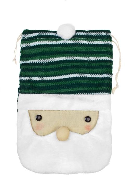 Мешок подарочный Дедушка МорозПодарки<br>15*22см, текстиль, бело-зеленый (2 вида)<br>