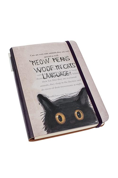 Записная книжка КотикЗаписные и телефонные книжки<br>13*19см, 96 листов, бум., в линейку, с ручкой, с кармашком, иск.кожа<br>