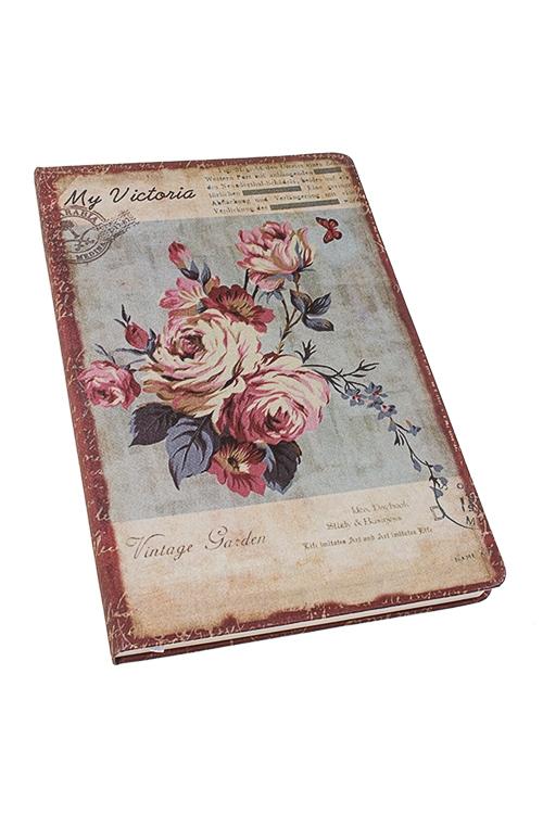 Записная книжка Английские розыЗаписные и телефонные книжки<br>14*21см, 96 листов, бум., в линейку и нелинов., текстиль<br>