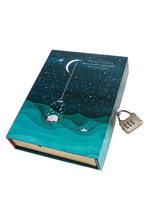Записная книжка Мишка в бутылкеЗаписные и телефонные книжки<br>13*19см, 120 листов, бум., в коробке с замком<br>