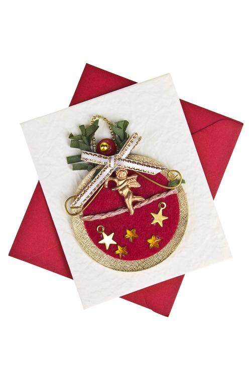 Открытка подарочная новогодняя Парящий ангелСувениры и упаковка<br>6.5*8см, с конвертом, ручная работа<br>