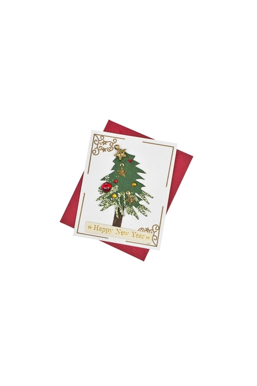Открытка подарочная новогодняя Пышная елкаСувениры и упаковка<br>6.5*8см, с конвертом, ручная работа<br>