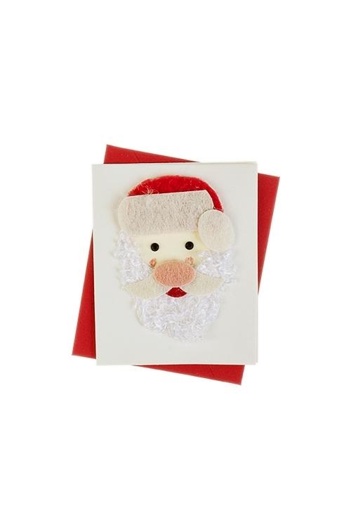 Открытка подарочная новогодняя Дед Мороз в шапкеОткрытки ручной работы<br>6.5*8см, с конвертом, ручная работа<br>
