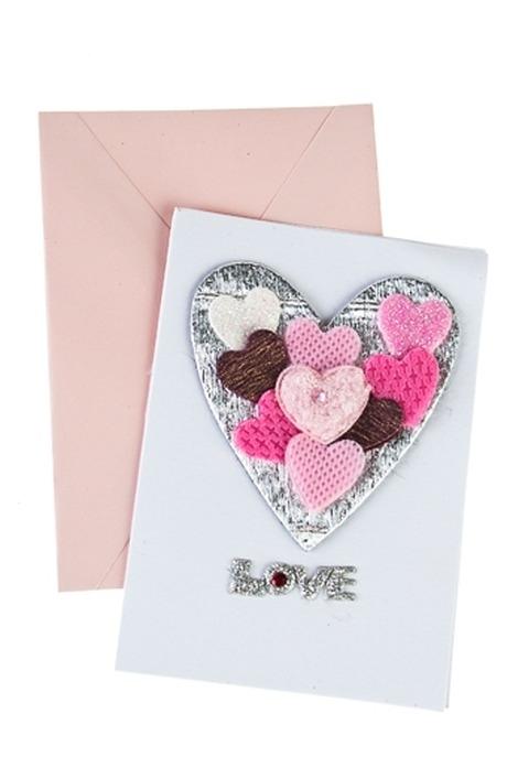 """Открытка подарочная """"Объемные сердца"""""""