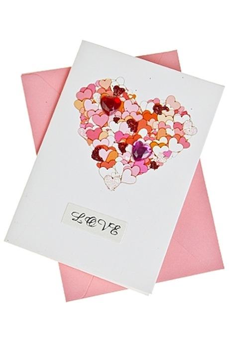 Открытка подарочная Трепетное сердцеСувениры и упаковка<br>7*10см с конвертом ручная работа<br>