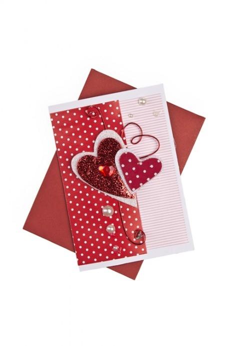 Открытка подарочная Дуэт сердецОткрытки ручной работы<br>7*10см, с конвертом, ручная работа<br>