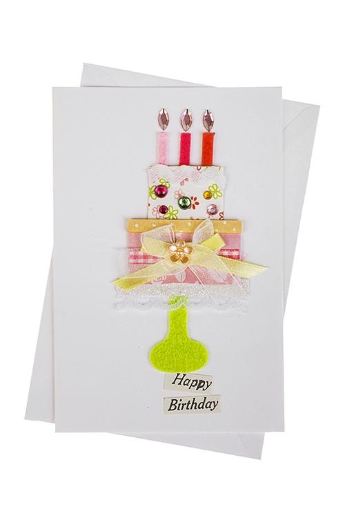 Открытка подарочная Тортик со свечкамиСувениры и упаковка<br>10*15см, с конвертом, ручная работа<br>