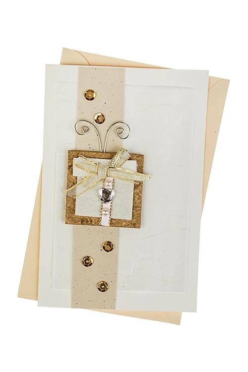 Открытка подарочная Подарок от чистого сердцаСувениры и упаковка<br>10*15см, с конвертом, ручная работа<br>