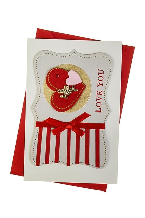 Открытка подарочная Купидон в сердечкеСувениры и упаковка<br>10*15см, с конвертом, ручная работа<br>