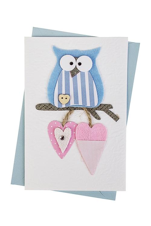 Открытка подарочная Совушка с сердечкамиОткрытки ручной работы<br>10*15см, с конвертом, ручная работа<br>