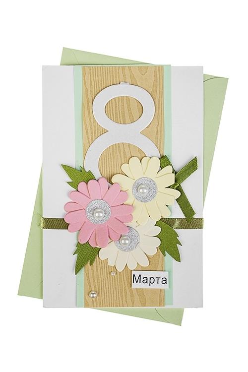 Открытка подарочная Прекрасные цветы на 8 мартаОткрытки ручной работы<br>10*15см, с конвертом, ручная работа<br>