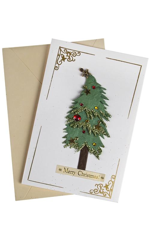Открытка подарочная новогодняя Пышная елкаСувениры и упаковка<br>10*15см, с конвертом, ручная работа<br>