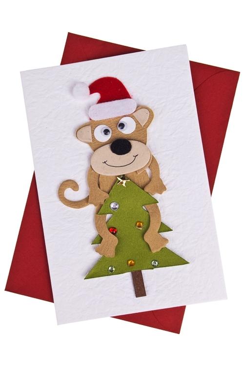 Открытка подарочная новогодняя Обезьянка на елкеСувениры и упаковка<br>10*15см, с конвертом, ручная работа<br>