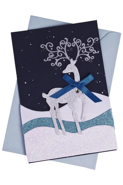 Открытка подарочная новогодняя Северный оленьОткрытки<br>10*15см, с конвертом, ручная работа<br>