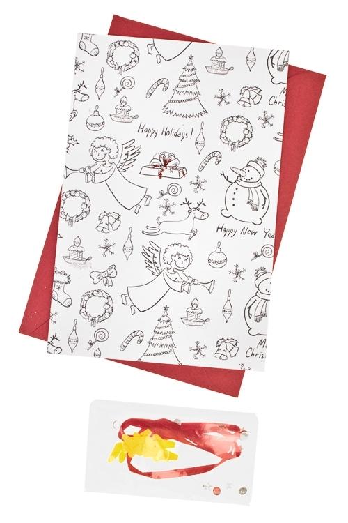 Набор новогодний для создания открытки АнгелОткрытки<br>10*15см (конверт, открытка, элементы декора), бум.<br>