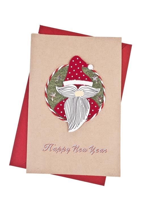 Открытка подарочная новогодняя Дед МорозОткрытки<br>10*15см, с конвертом, ручная работа<br>