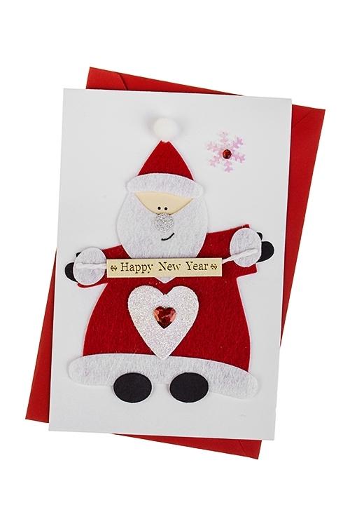 Открытка подарочная новогодняя Сказочный Дед МорозСувениры и упаковка<br>10*15см, с конвертом, ручная работа<br>