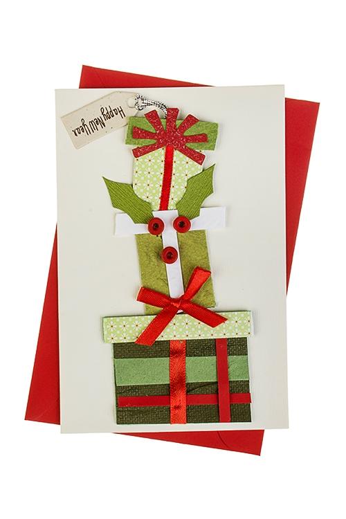 Открытка рождественский подарок, позы
