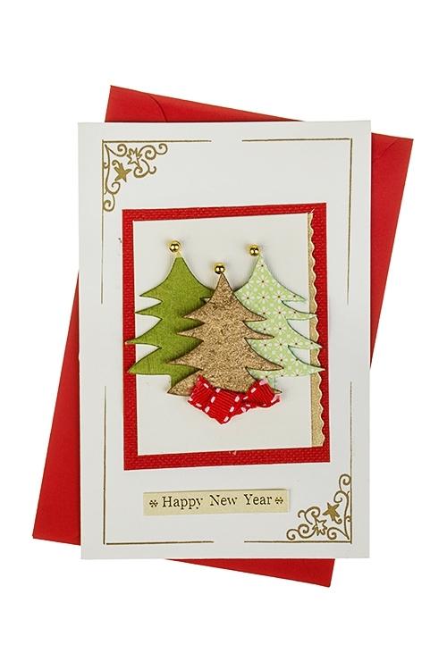 Открытка подарочная новогодняя ЕлочкиОткрытки ручной работы<br>10*15см, с конвертом, ручная работа<br>