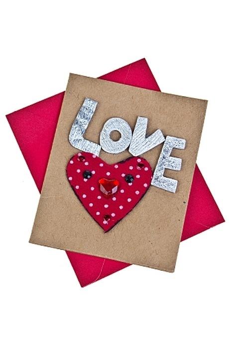 Открытка подарочная Мечтательное сердцеСувениры и упаковка<br>6.5*8см с конвертом ручная работа<br>