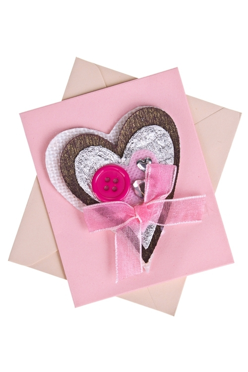 Открытка подарочная Чуткое сердцеСувениры и упаковка<br>6.5*8см, с конвертом, ручная работа<br>