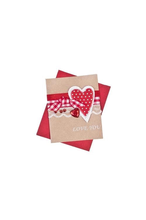 Открытка подарочная Трепетное сердцеОткрытки ручной работы<br>6.5*8см, с конвертом, ручная работа<br>