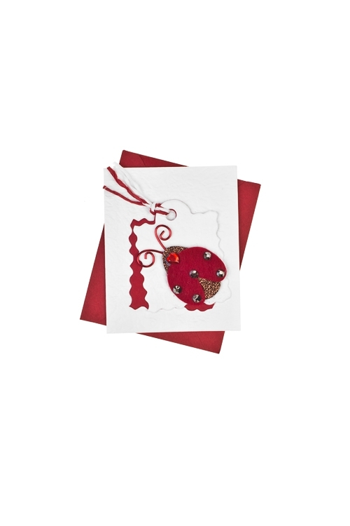 Открытка подарочная Божья коровкаОткрытки ручной работы<br>6.5*8см, с конвертом, ручная работа<br>