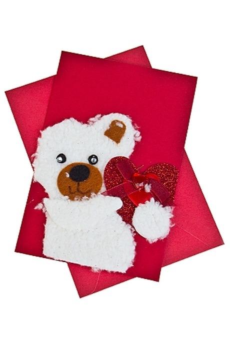 Открытка подарочная Мишка с сердцемСувениры и упаковка<br>8*12см с конвертом ручная работа<br>