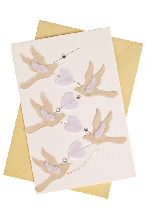 Открытка подарочная ГолубиОткрытки «С Днем свадьбы»<br>8*12см, с конвертом, ручная работа<br>