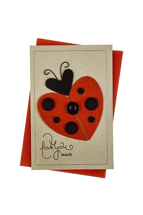 Открытка подарочная Люблю тебя оченьОткрытки ручной работы<br>8*12см, с конвертом, ручная работа<br>