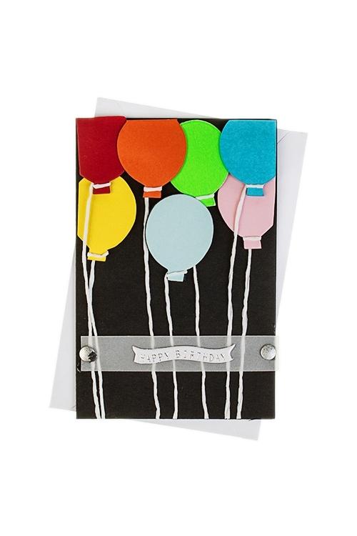 Открытка подарочная Воздушные шарикиСувениры и упаковка<br>8*12см, с конвертом, ручная работа<br>