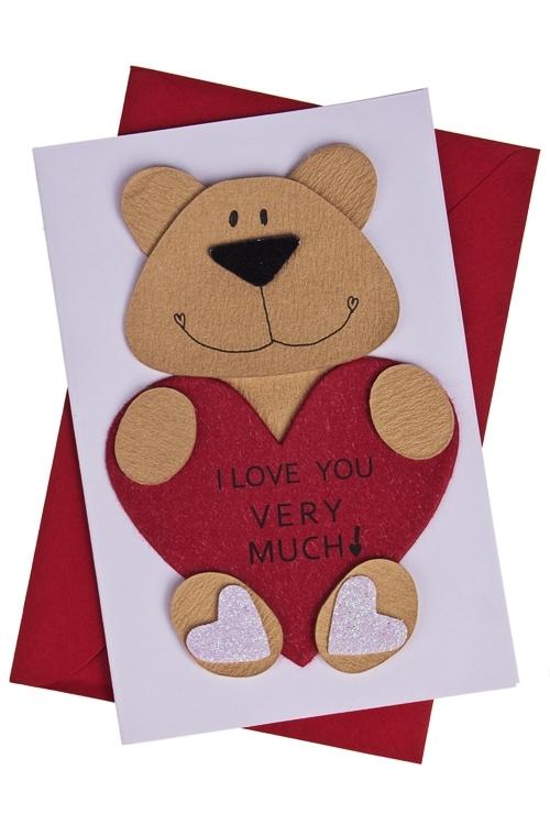Открытка подарочная Сердце в лапкахОткрытки<br>10*15см, с конвертом, ручная работа<br>