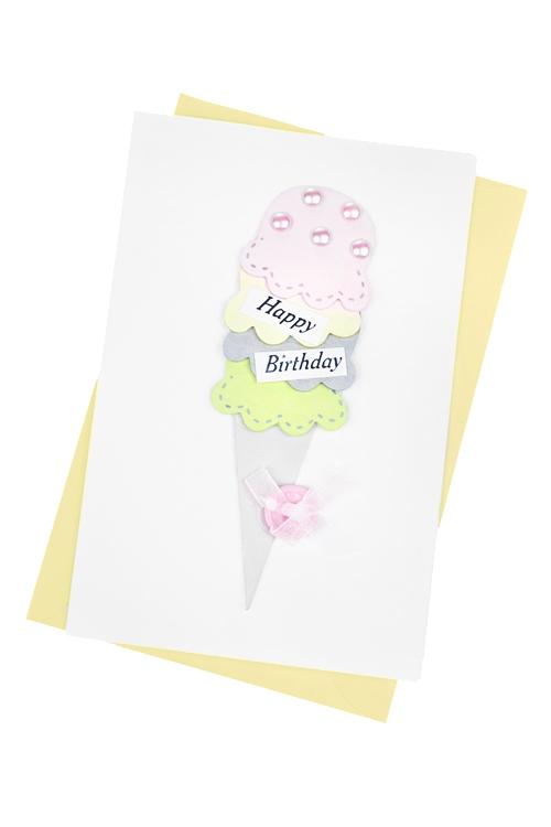 Открытка подарочная Сладкое мороженоеПодарки на день рождения<br>10*15см, с конвертом, ручная работа<br>
