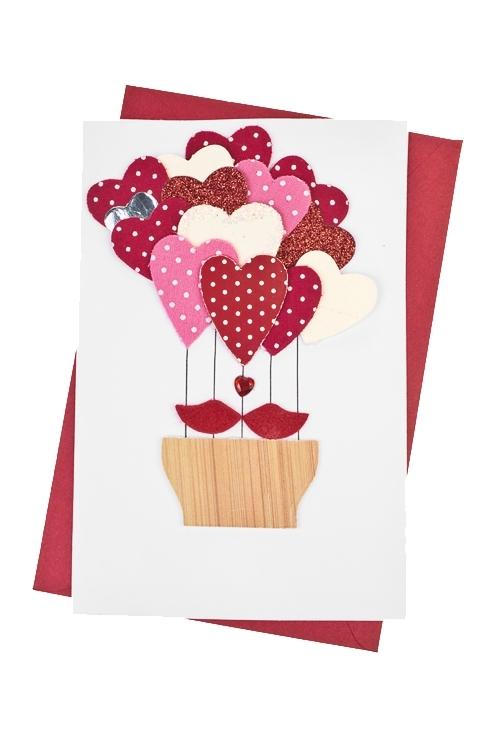 Открытка подарочная Любовный воздушный шарСувениры и упаковка<br>10*15см, с конвертом, ручная работа<br>