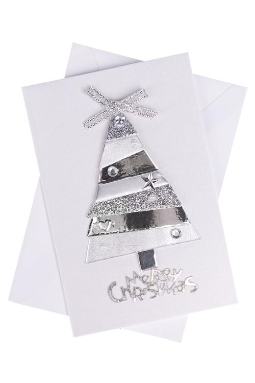 Открытка подарочная новогодняя Стальная елкаСувениры и упаковка<br>8*12см, с конвертом, ручная работа<br>