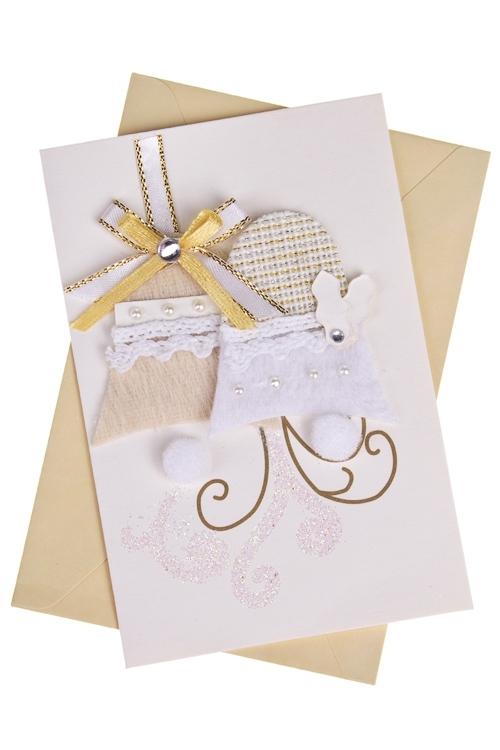 Открытка подарочная новогодняя Снежные колокольчики 33 открытки открытка магнитная одинарная с конвертом 12 12см конфетти