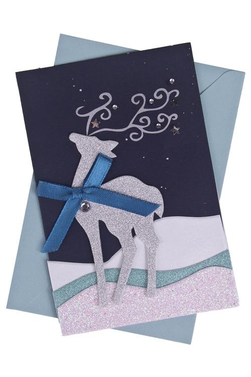 Открытка подарочная новогодняя Северный оленьСувениры и упаковка<br>8*12см, с конвертом, ручная работа<br>