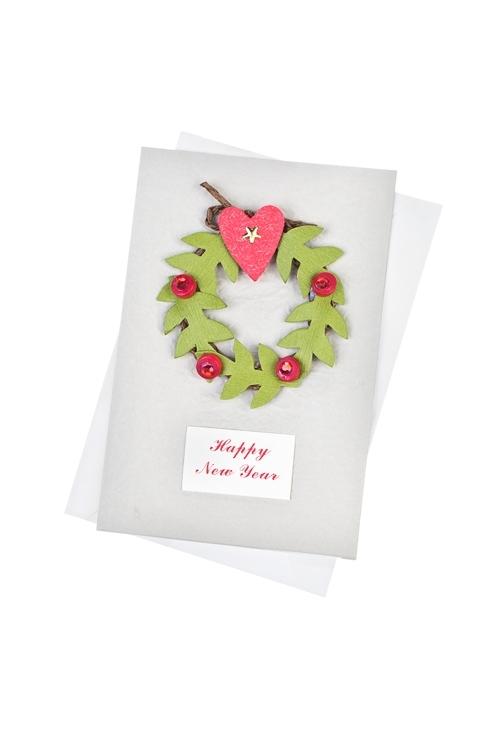 Открытка подарочная новогодняя Новогодний веночек 33 открытки открытка магнитная одинарная с конвертом 12 12см конфетти