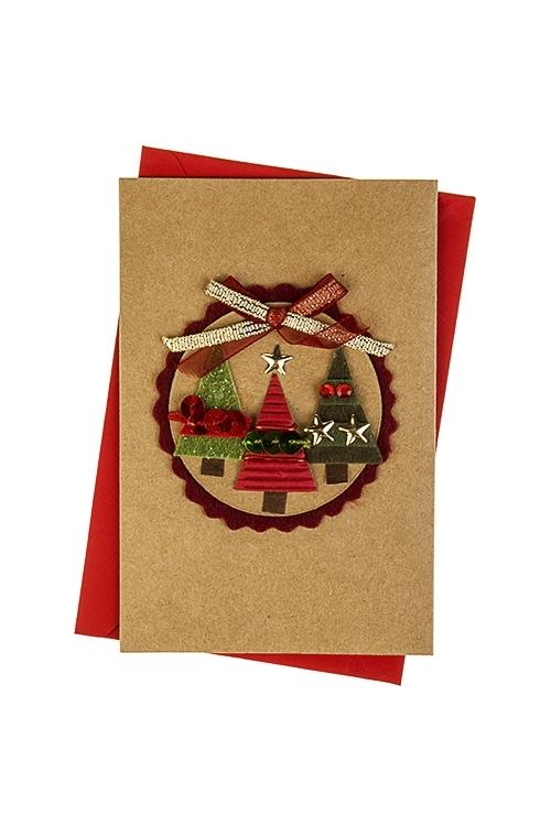 Открытка подарочная новогодняя Праздничные елиСувениры и упаковка<br>8*12см, с конвертом, ручная работа<br>