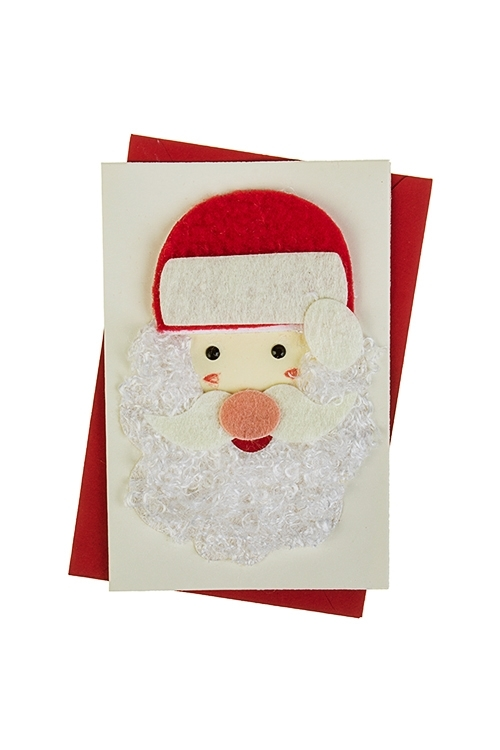 Открытка подарочная новогодняя Дед Мороз в шапкеСувениры и упаковка<br>8*12см, с конвертом, ручная работа<br>