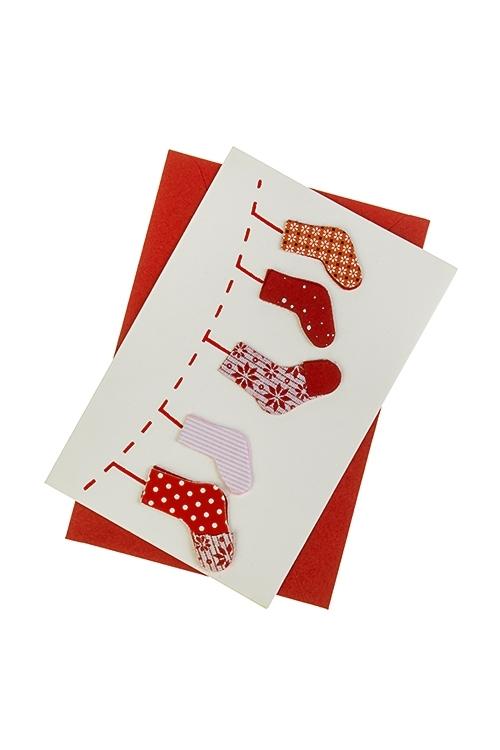 Открытка подарочная новогодняя Подарочные носочкиОткрытки ручной работы<br>8*12см, с конвертом, ручная работа<br>