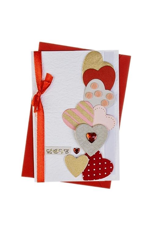 Открытка подарочная Парящие сердечкиСувениры и упаковка<br>8*12см, с конвертом, ручная работа<br>