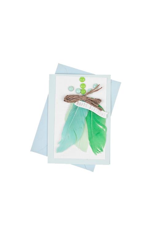 Открытка подарочная Волшебное перышкоСувениры и упаковка<br>7*10см, с конвертом, ручная работа<br>