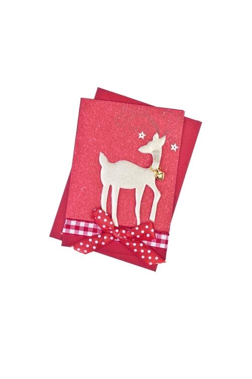 Открытка подарочная новогодняя Волшебный оленьСувениры и упаковка<br>7*10см, с конвертом, ручная работа<br>