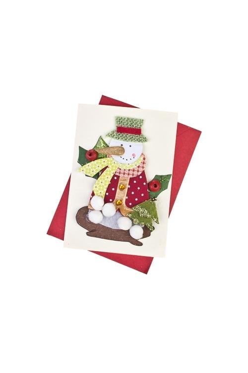 Открытка подарочная новогодняя Снеговик с елочкойСувениры и упаковка<br>7*10см, с конвертом, ручная работа<br>