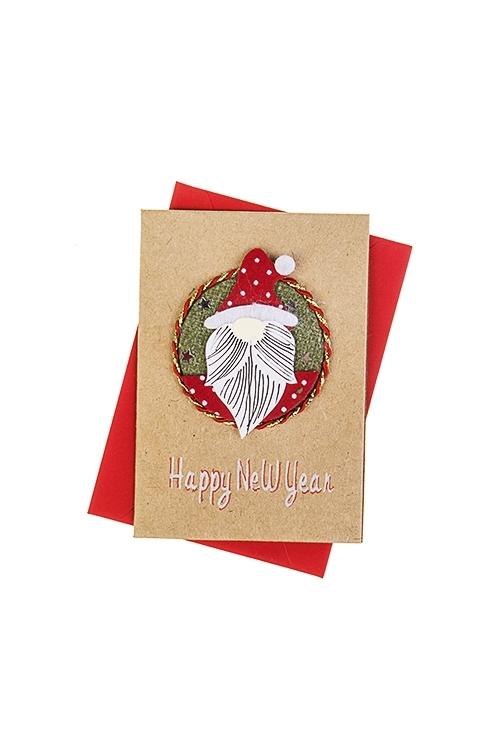 Открытка подарочная новогодняя Дед МорозОткрытки ручной работы<br>7*10см, с конвертом, ручная работа<br>