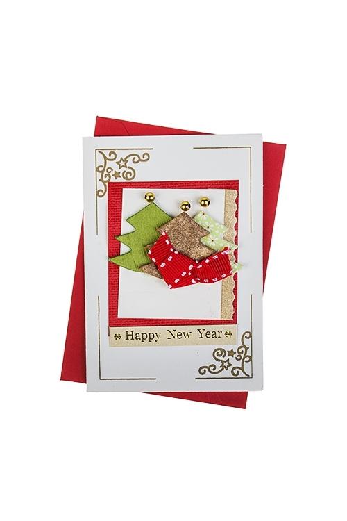 Открытка подарочная новогодняя ЕлочкиОткрытки ручной работы<br>7*10см, с конвертом, ручная работа<br>